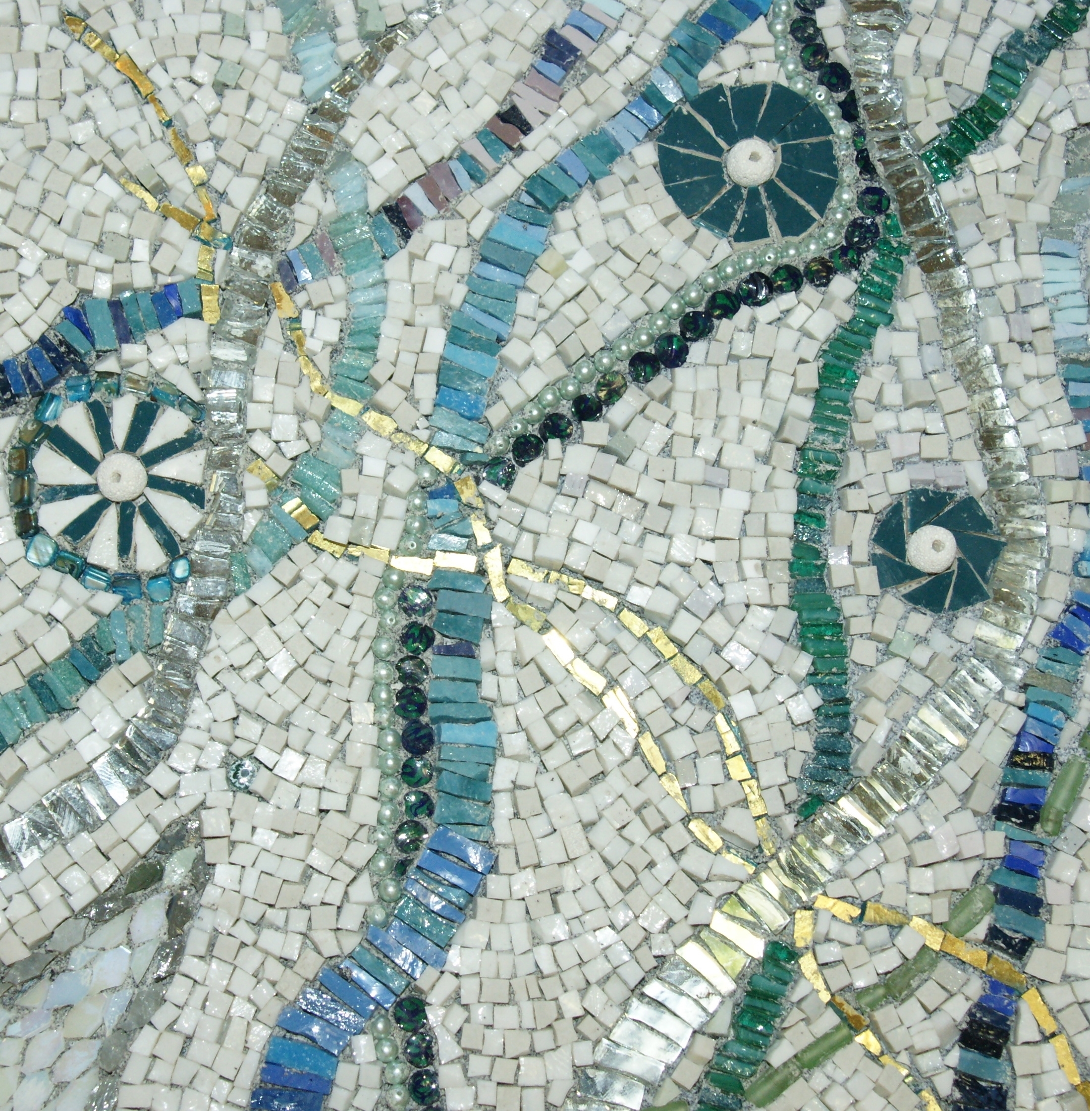 "Abstract Mosaic Art ""winding"". Smalti, Mirror,gold, Stones (View 3 of 20)"