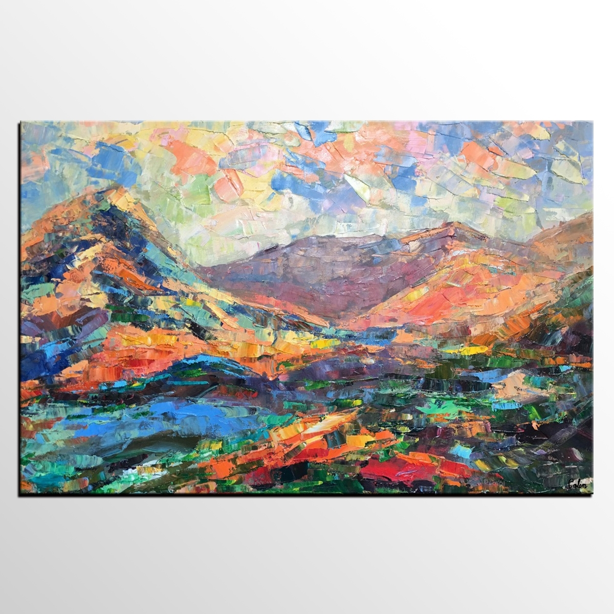 Abstract Mountain Landscape Painting, Large Wall Art, Large Art With Most Recent Abstract Landscape Wall Art (View 16 of 20)