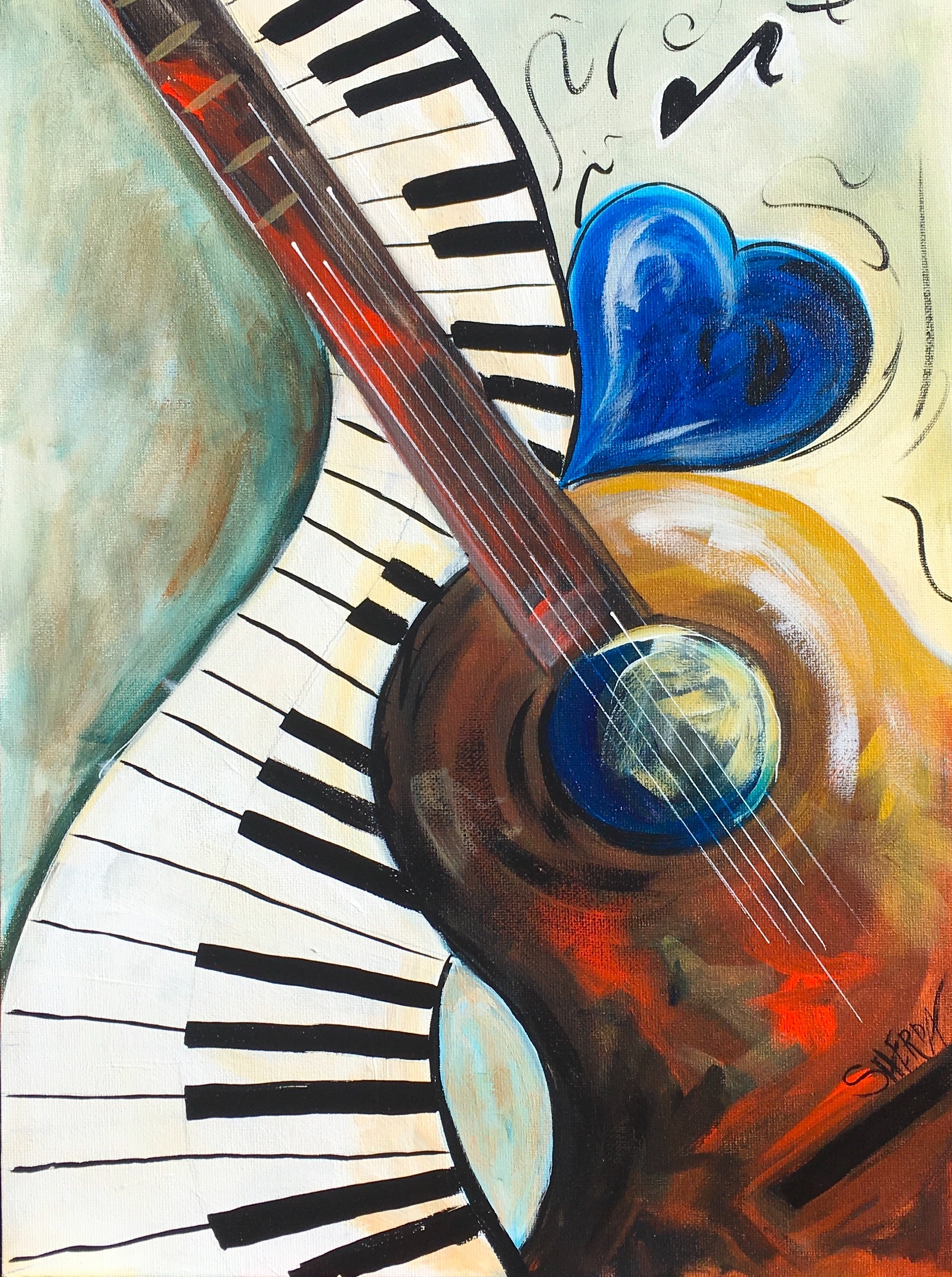 Abstract Music Acrylic Painting On Canvas With Heart Guitar And With Newest Abstract Musical Notes Piano Jazz Wall Artwork (View 2 of 20)