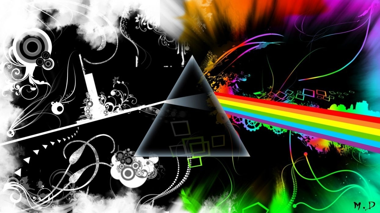 Abstract Music Pink Floyd Multicolor Rock Music The Dark Side Of With Regard To Most Popular Abstract Music Wall Art (View 7 of 20)
