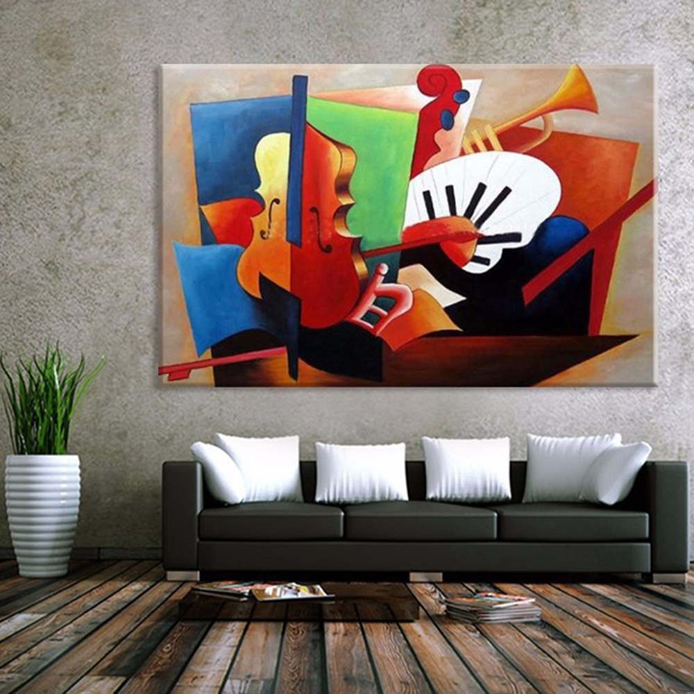 Abstract Musical Instruments Oil Painting , Modern Canvas Art Wall In Current Abstract Art Wall Murals (View 11 of 20)