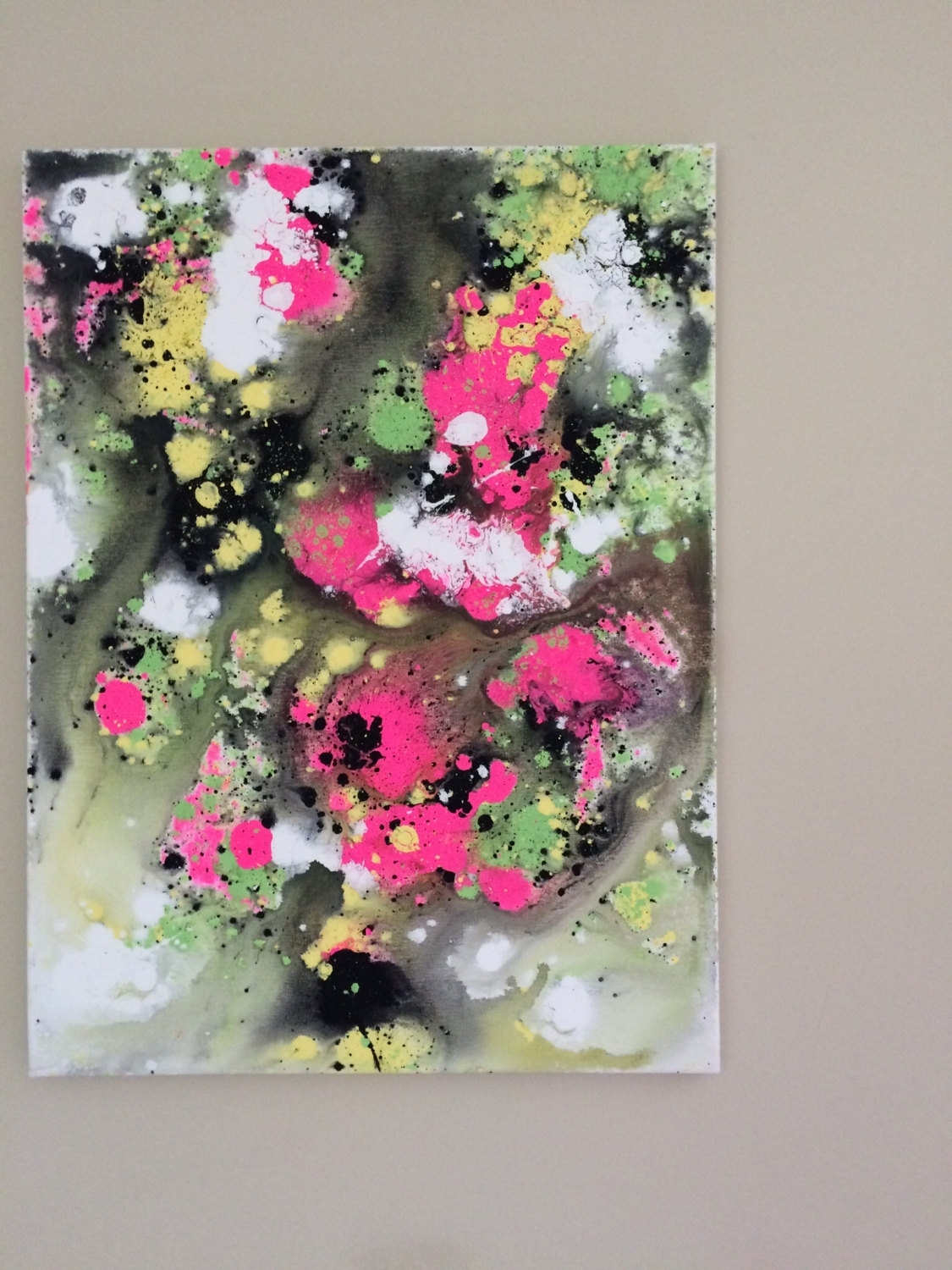 Abstract Neon Art Fluid Painting Yellow Pink Art Flow Painting Inside Most Recent Abstract Neon Wall Art (View 4 of 20)