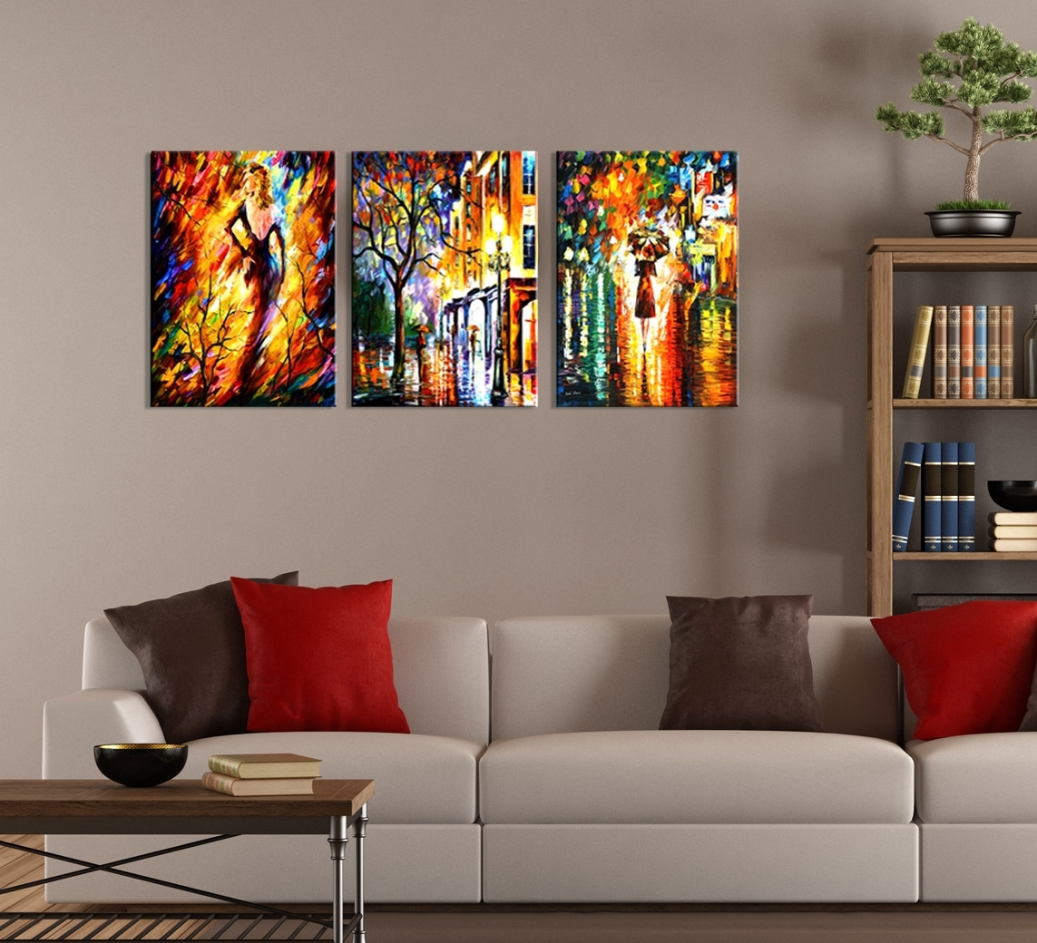 Abstract Night City Painting 3 Piece Wall Art Throughout 2017 Modern Abstract Wall Art (View 3 of 20)