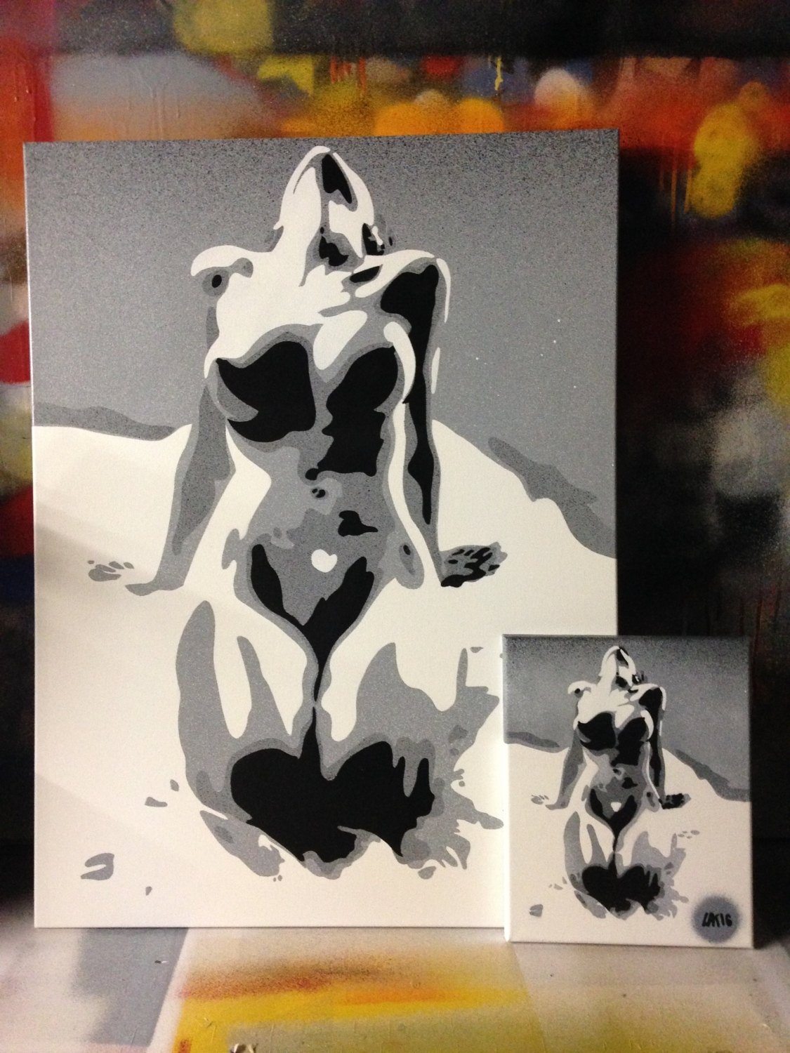 Abstract Nude Painting In Grey White Black Canvas Bright Bold In Latest Bold Abstract Wall Art (View 2 of 20)