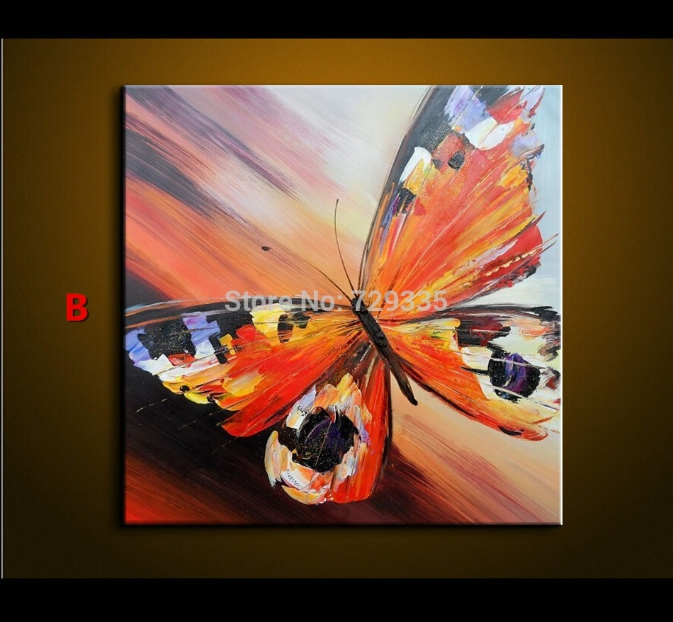 Abstract Oil Painting On Canvas Palette Knife Colorful Butterfly Regarding Best And Newest Abstract Butterfly Wall Art (View 2 of 20)