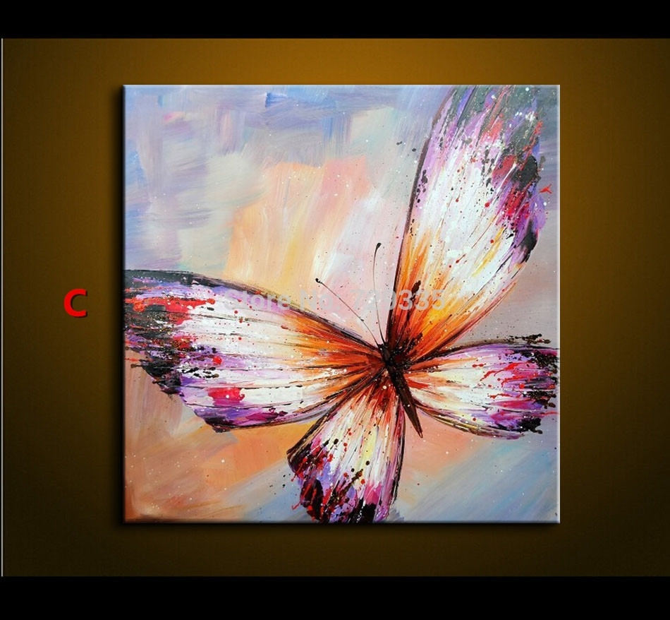 Abstract Oil Painting On Canvas Palette Knife Colorful Butterfly Within Most Recently Released Abstract Butterfly Wall Art (View 6 of 20)