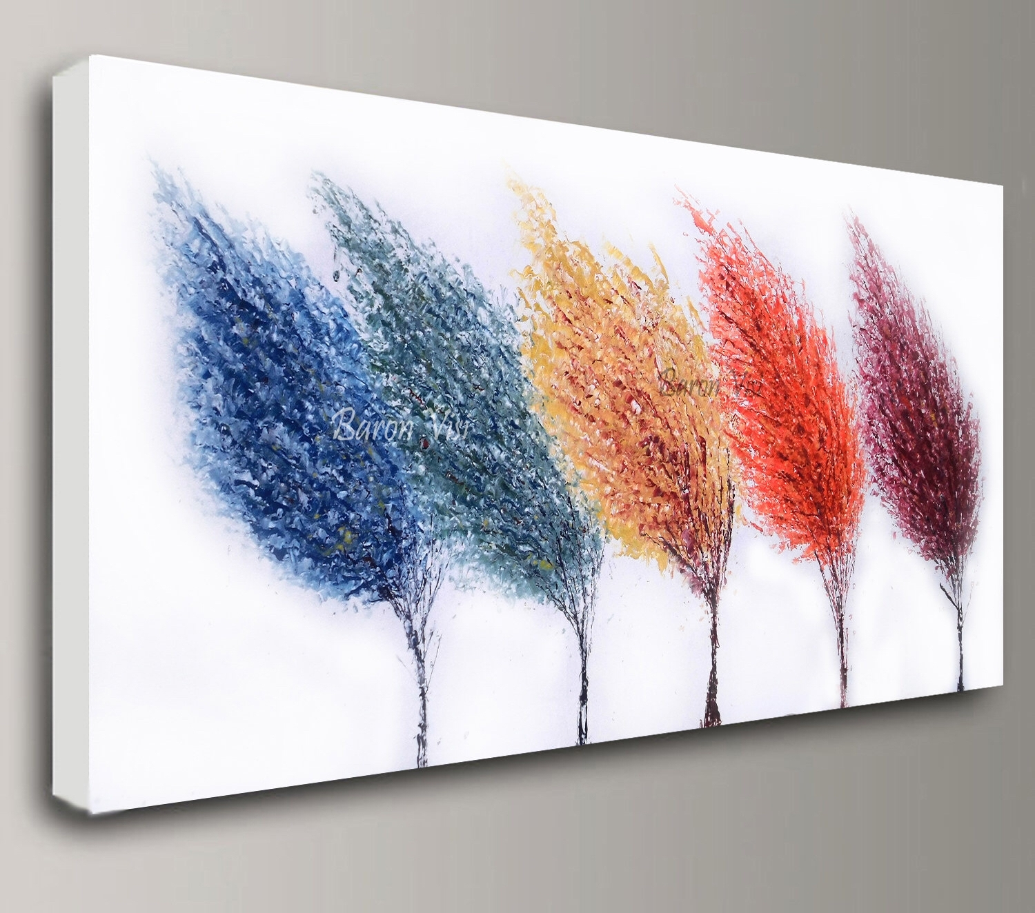 Abstract Painting Acrylic Multi Colour Trees Art Original Large For 2017 Abstract Wall Art For Office (View 1 of 20)