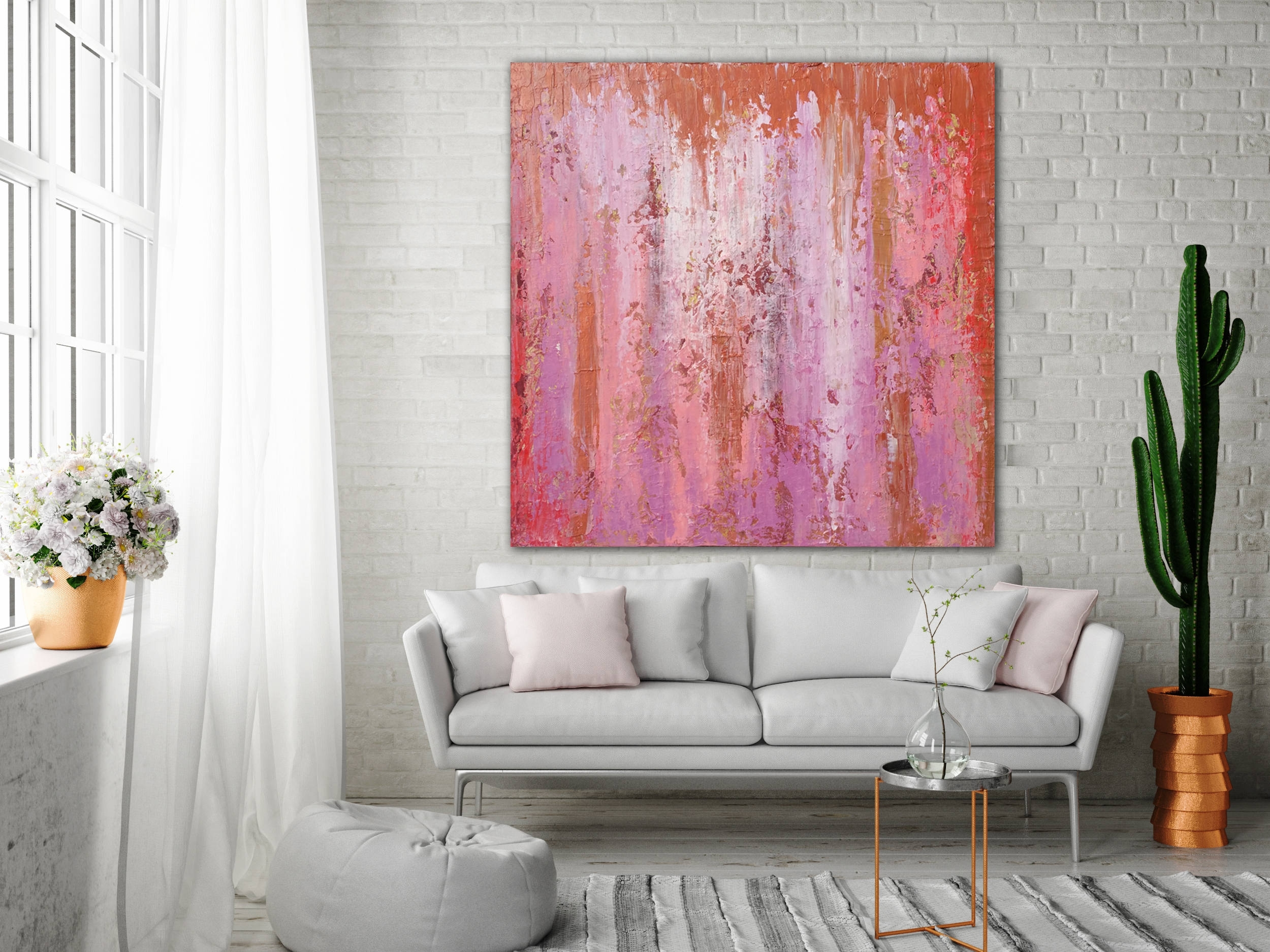 Abstract Painting Custom Unstretched Xlarge Canvas Art Oversized In Recent Pink Abstract Wall Art (View 3 of 20)