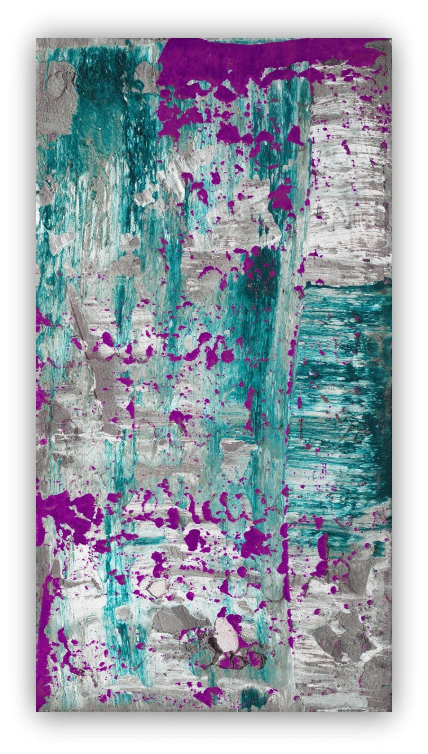 Abstract Painting Large Wall Art Canvas Art Purple Plum Grey Gray With Current Lime Green Abstract Wall Art (View 7 of 20)