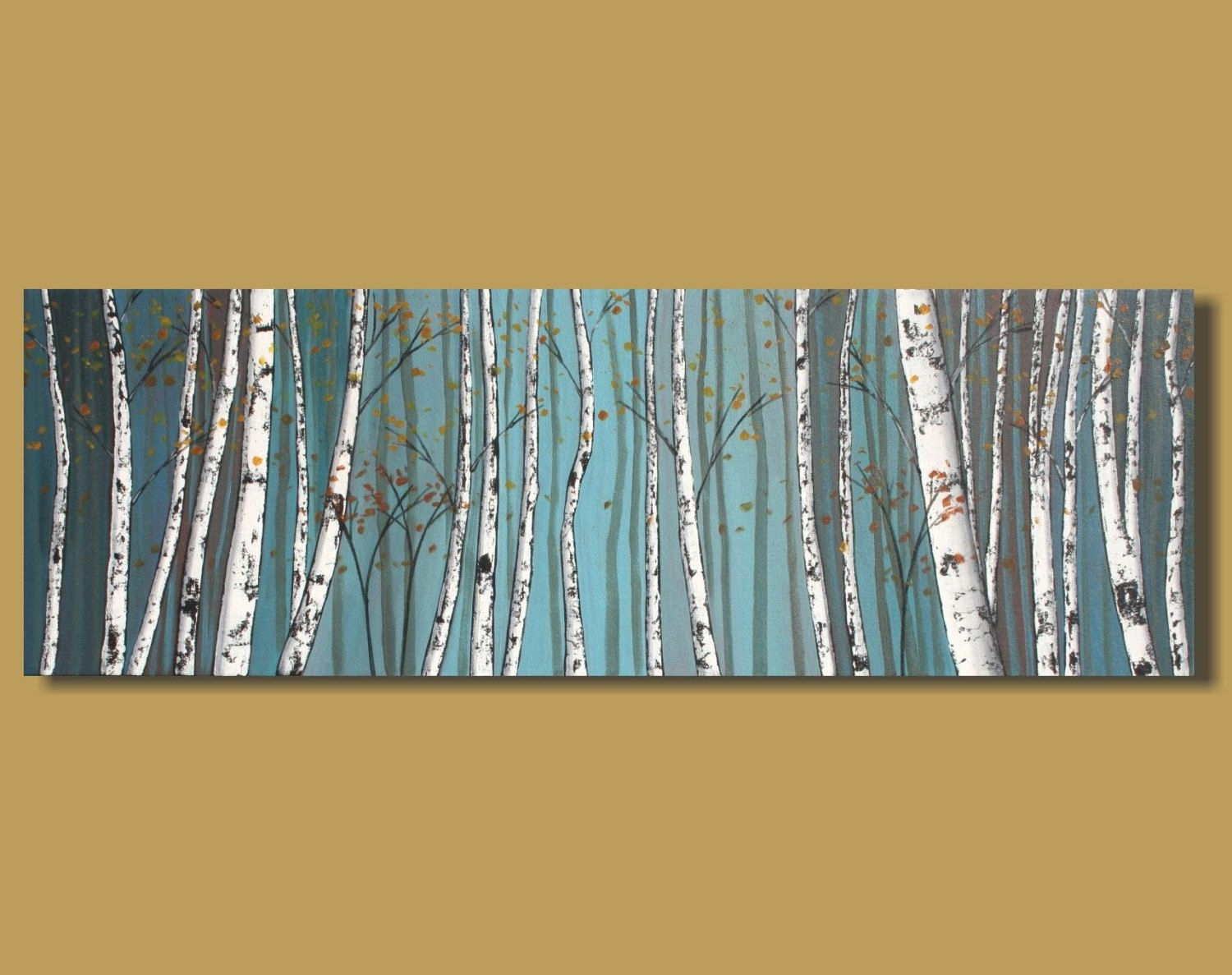 Abstract Painting Of Birch Trees, Panoramic Painting, White Birch In Most Up To Date Horizontal Abstract Wall Art (View 12 of 20)