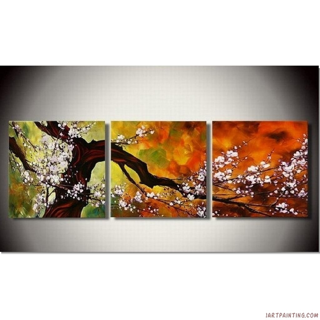 Abstract Paintings 3pcs Canvas Set Modern Acrylic On Canvas Wall With Regard To Most Popular Acrylic Abstract Wall Art (View 3 of 20)