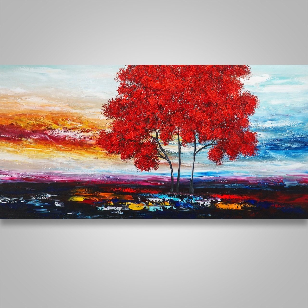 Abstract Painting,wall Decor, Home Decor, Abstract Wall Art, Tree For Most Recent Abstract Landscape Wall Art (View 7 of 20)