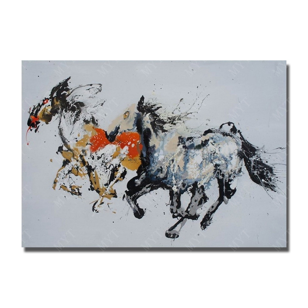 Abstract Running Horse Hand Painted Oil Painting Modern For Home Inside Most Popular Abstract Horse Wall Art (View 9 of 20)