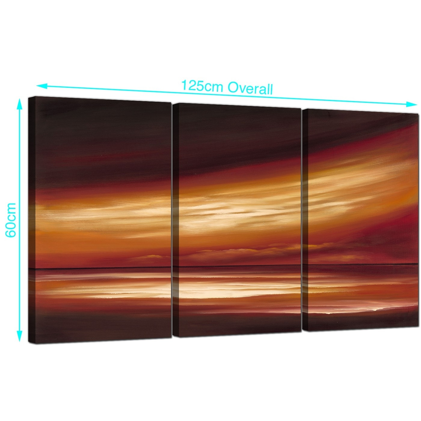 Abstract Sunset Canvas Wall Art 3 Panel For Your Office Regarding Most Popular Abstract Horizon Wall Art (View 2 of 20)