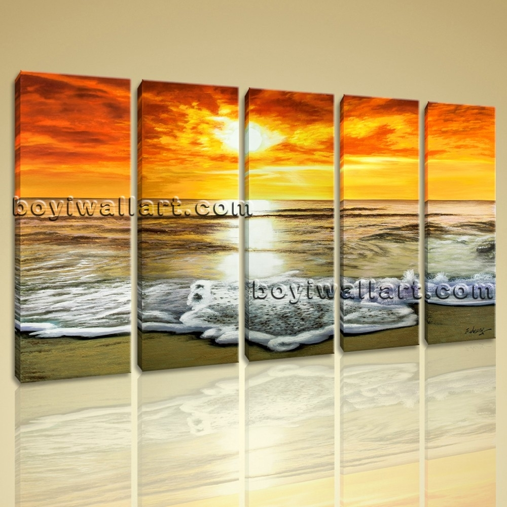 Abstract Sunset Glow Landscape Beach Ocean Painting Print Canvas Regarding Most Current Abstract Ocean Wall Art (View 8 of 20)