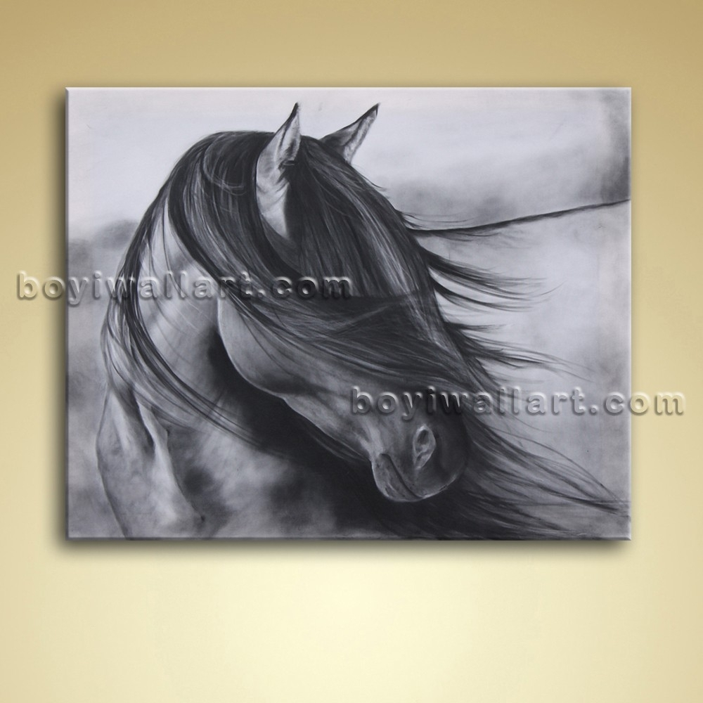 Abstract Wall Art Black And White Horse Painting Oil Picture With Most Popular Abstract Horse Wall Art (View 10 of 20)