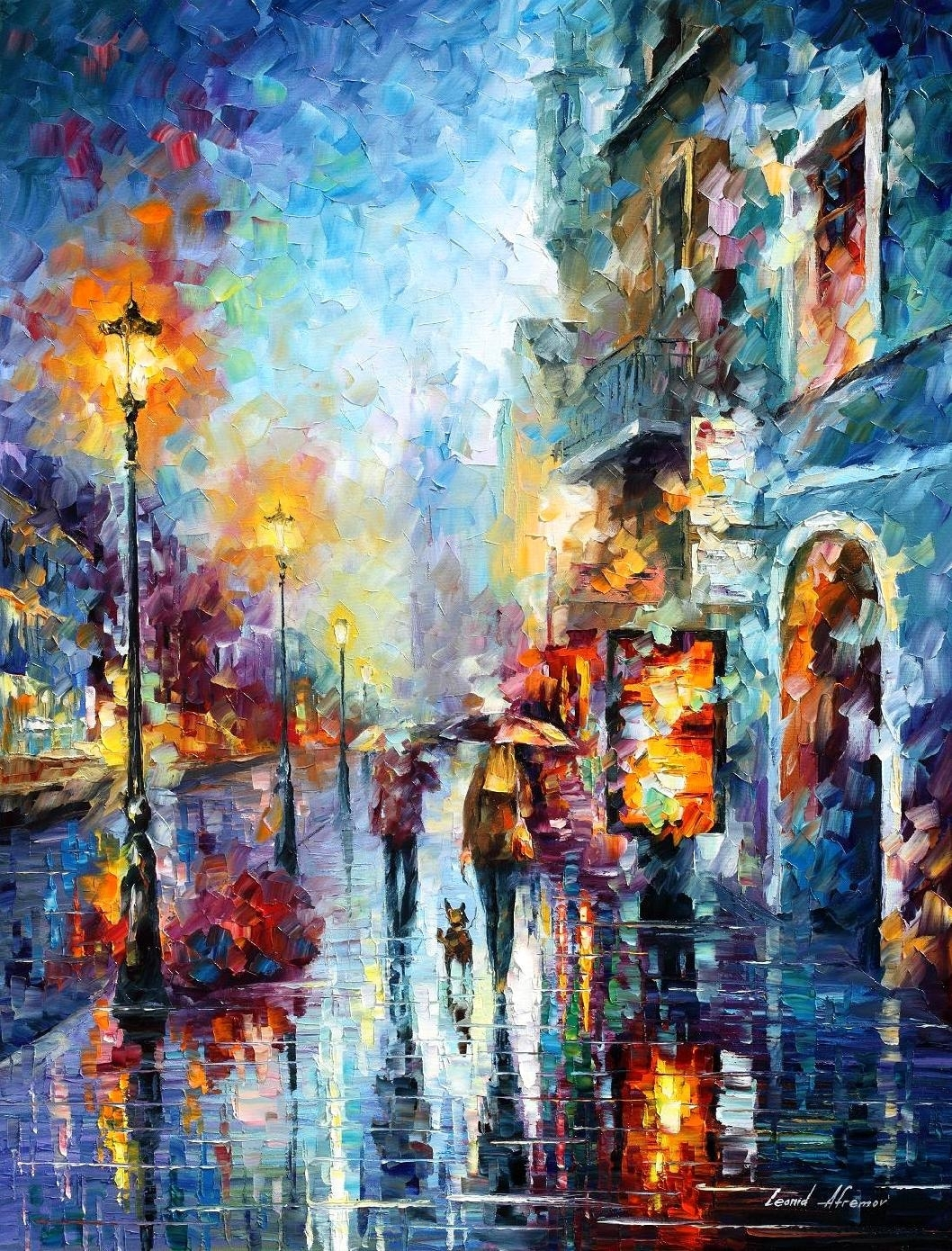 Abstract Wall Artfamous Painter Leonid Afremov For Your Room Within Most Recent Happiness Abstract Wall Art (View 3 of 20)