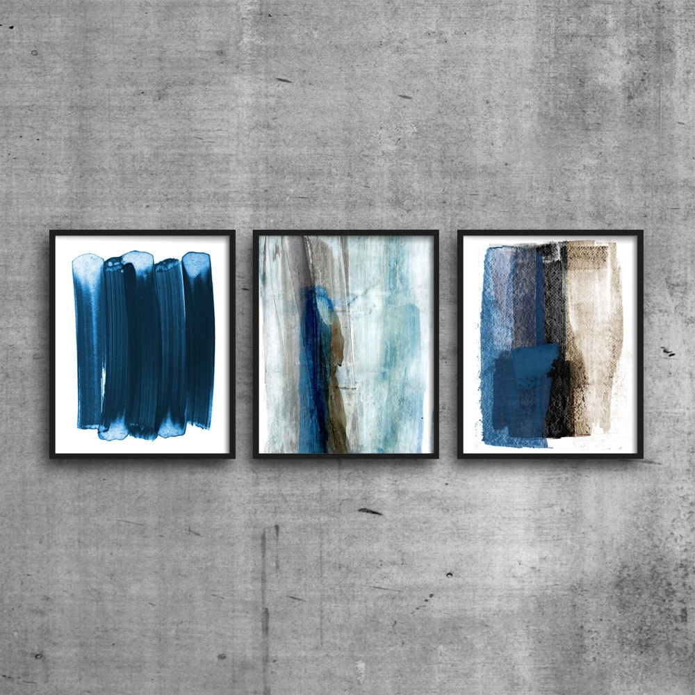 Abstract Watercolor Painting, Set Of 3 Prints, Brush Stroke Art With Latest Blue And Brown Abstract Wall Art (View 2 of 18)