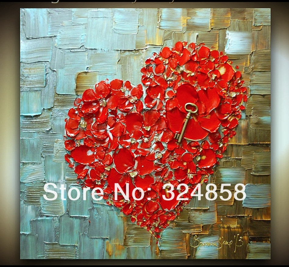 Acrylic Abstract Red Heart Cherry Blossom Modern Palette Knife Oil Intended For Most Recently Released Abstract Heart Wall Art (View 6 of 20)
