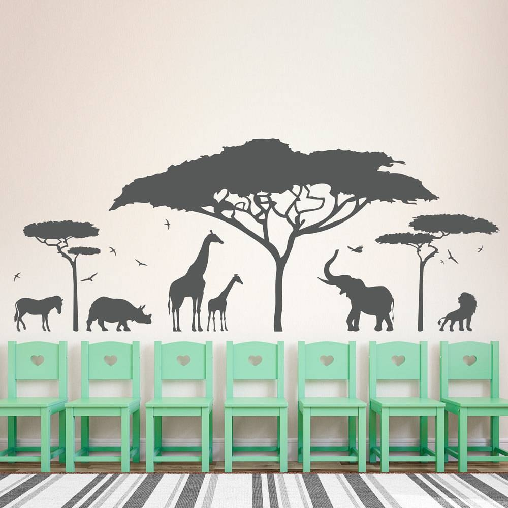 African Safari Wall Decal Zoo Wall Decal African Decal, African Within 2017 African Animal Wall Art (View 4 of 20)