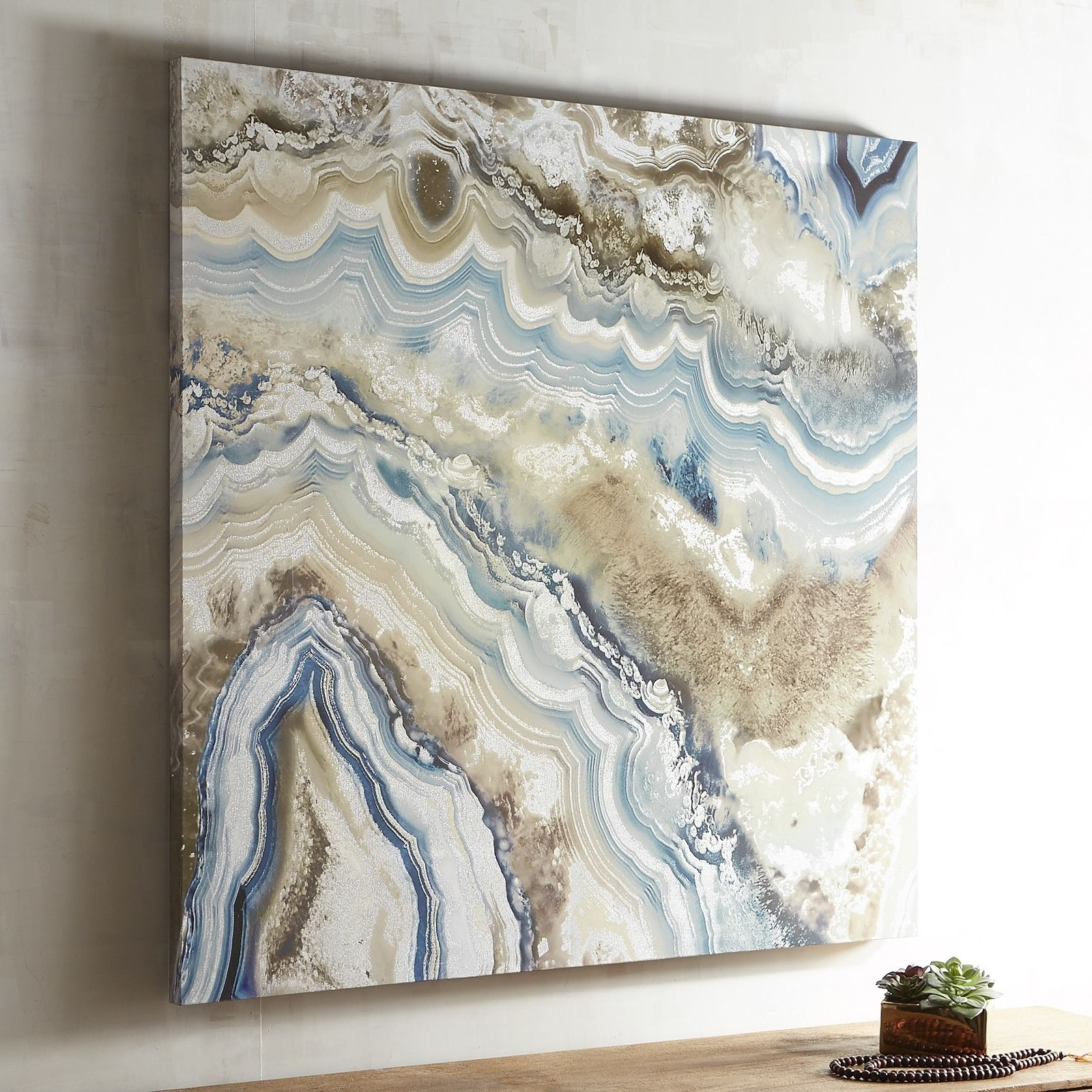 Agate Stones Are Characterizedthe Fineness Of Their Grain And With Current Blue And Brown Abstract Wall Art (View 2 of 20)
