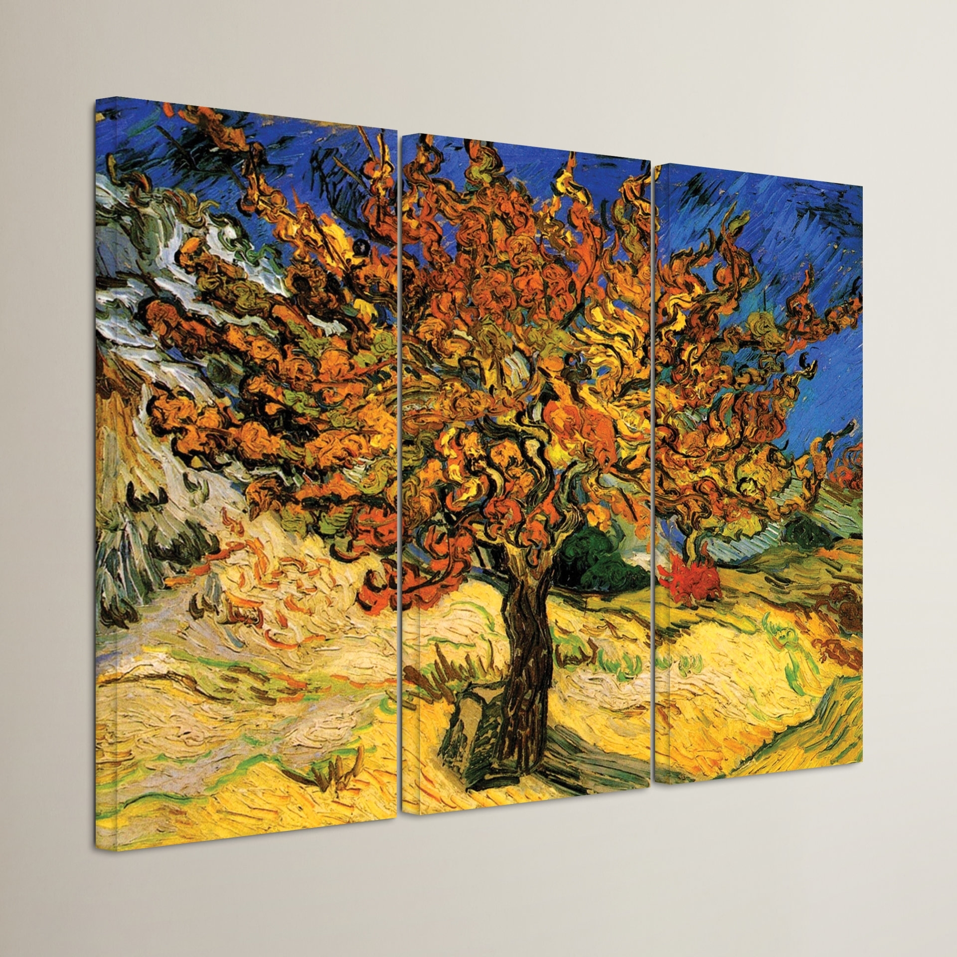 Alcott Hill 'mulberry Tree'vincent Van Gogh 3 Piece Painting With Regard To Newest Vincent Van Gogh Multi Piece Wall Art (View 2 of 20)