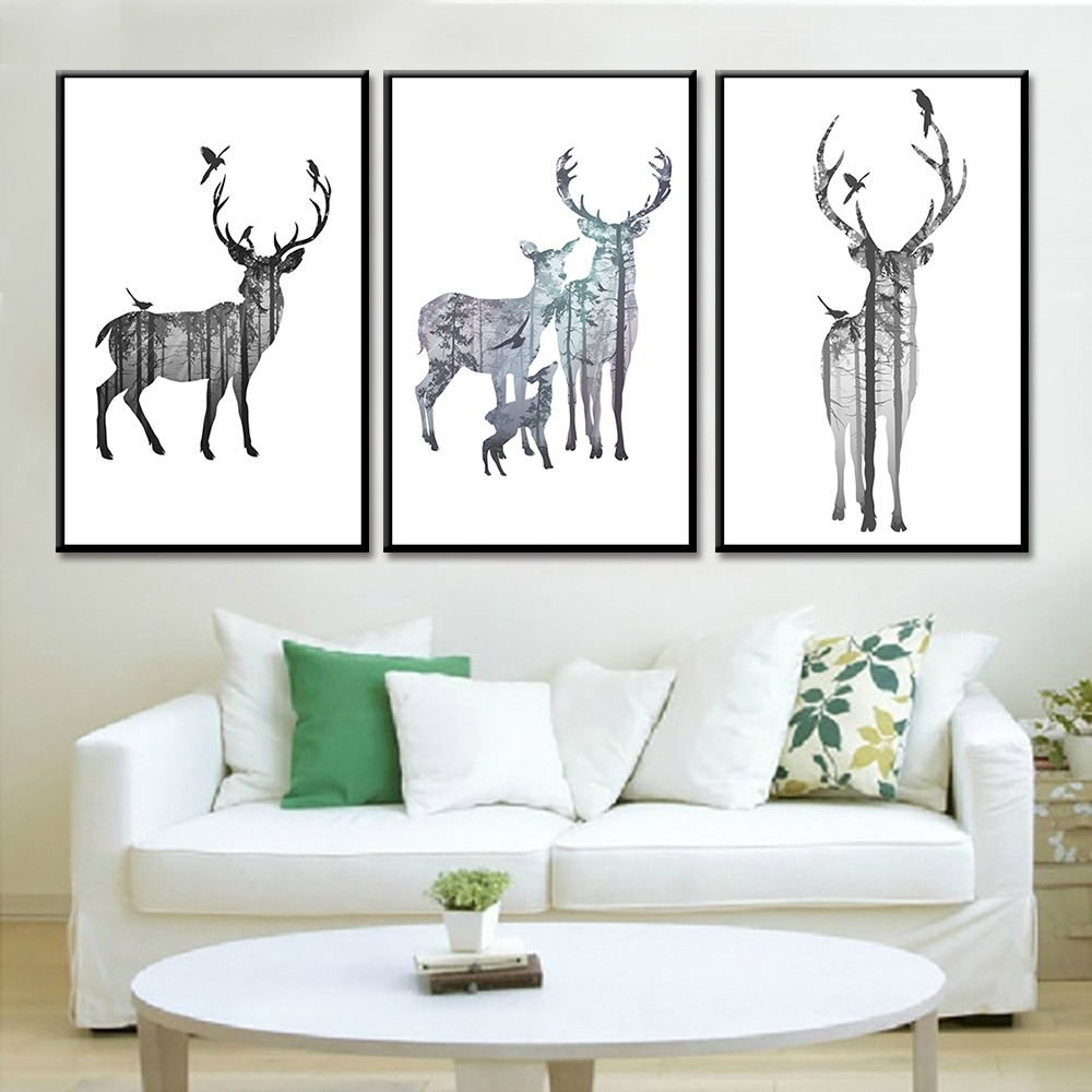 Aliexpress : Buy 3 Pieces No Frame Abstract Deer Posters And Pertaining To Most Recently Released Abstract Deer Wall Art (View 3 of 20)
