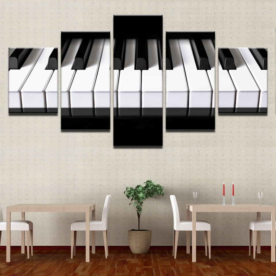 Aliexpress : Buy Framed Abstract Modern Home Decor Canvas 5 With Most Popular Abstract Piano Wall Art (View 14 of 20)