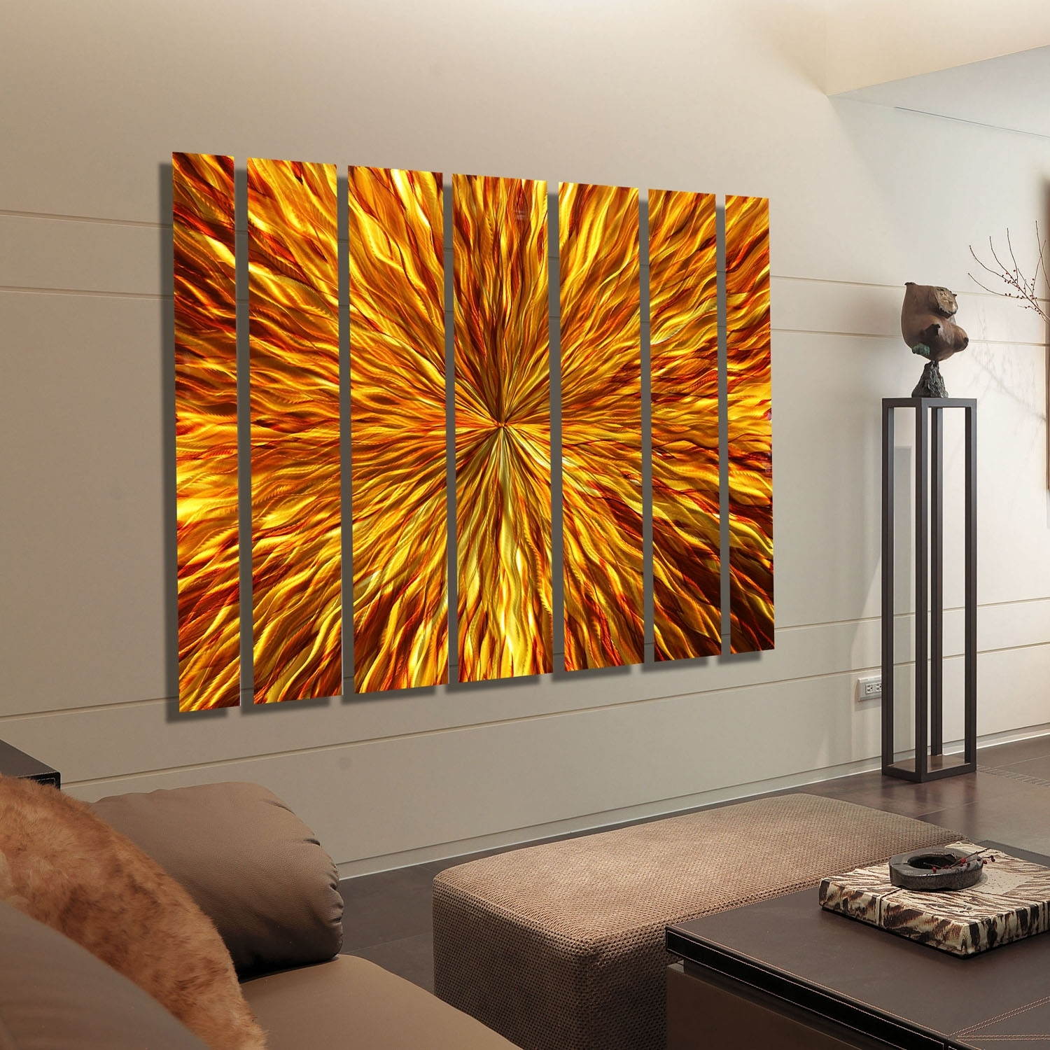 Amber Vortex Xl – Extra Large Modern Metal Wall Artjon Allen Within Most Popular Abstract Orange Wall Art (View 14 of 20)