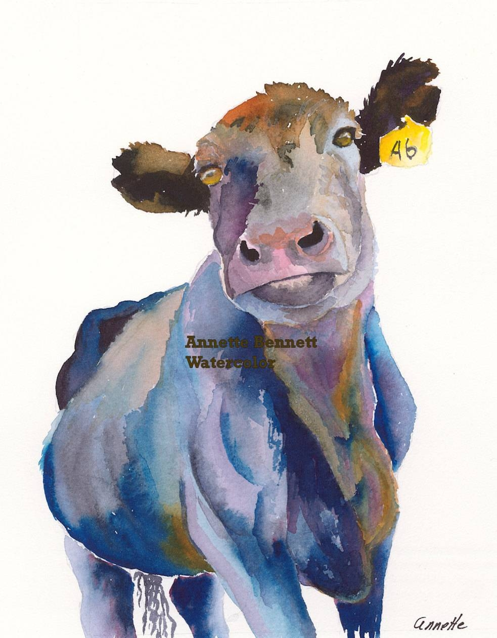 Angus Cow Canvas Wall Decor Cow Wall Art Farm Art Canvas Print Inside Latest Farm Animal Wall Art (View 1 of 20)