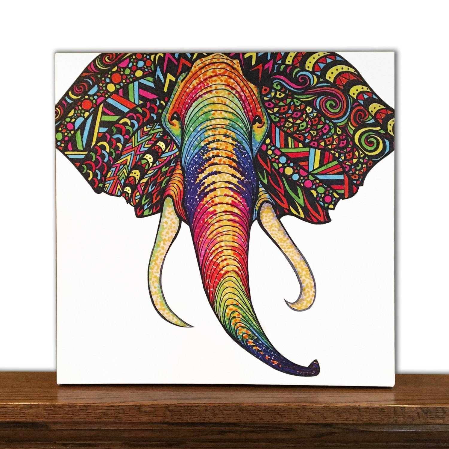 Animal Canvas Art Elephant Wall Art Home Decor Tribal Within Newest ColorfulAnimal Wall Art (View 9 of 20)