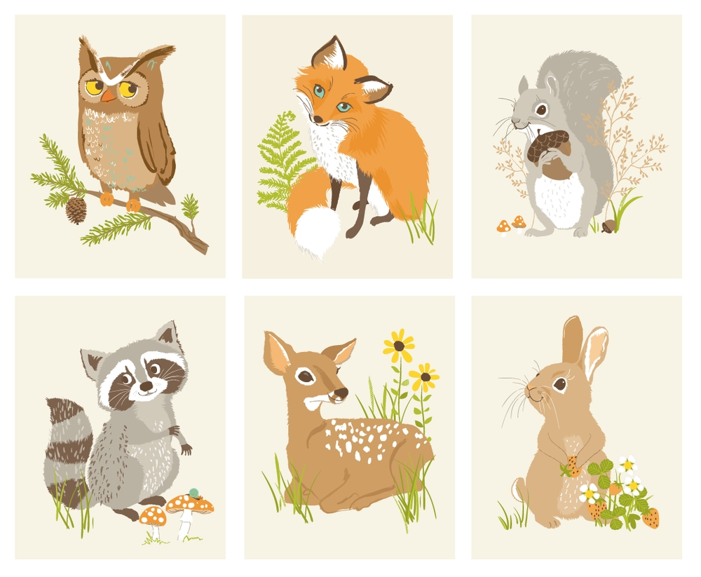 Animal Friends Art Print Set In Most Recent Woodland Animal Wall Art (View 1 of 20)