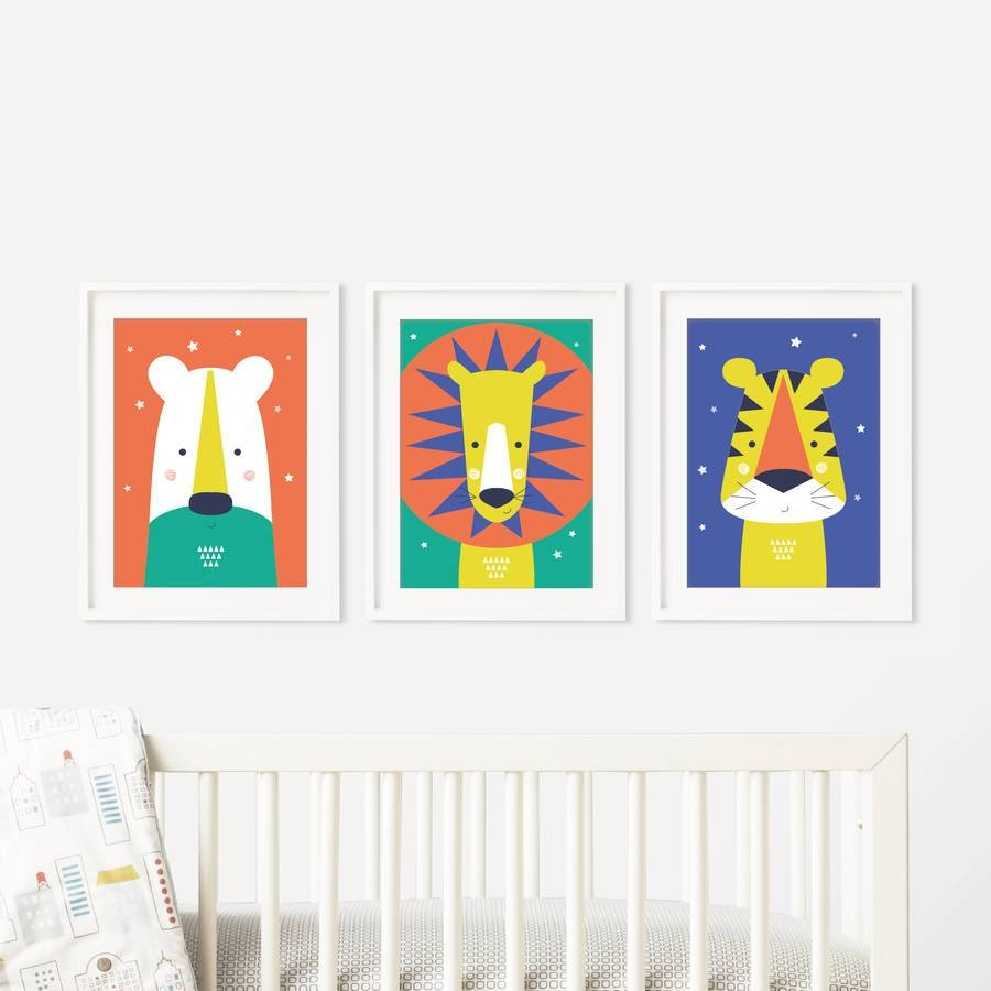Animal Nursery Wall Art Trio Bright And Modern Babypaper Joy Intended For Most Popular Baby Animal Wall Art (View 1 of 20)
