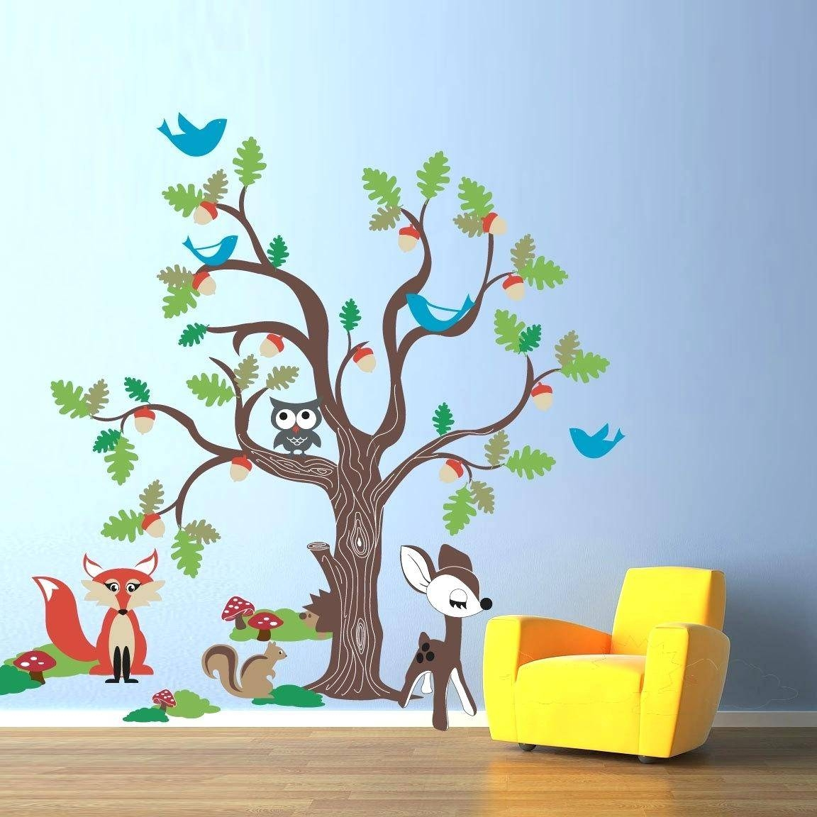 Best 20 of woodland animal wall art for Animal wall mural