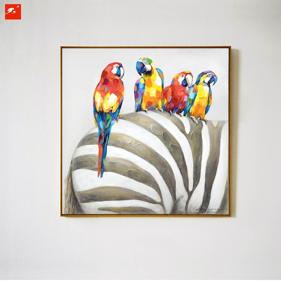 Animal Wall Art Elephant Zebra Abstract Parrot Hand Painted Oil In 2017 Abstract Animal Wall Art (View 6 of 20)