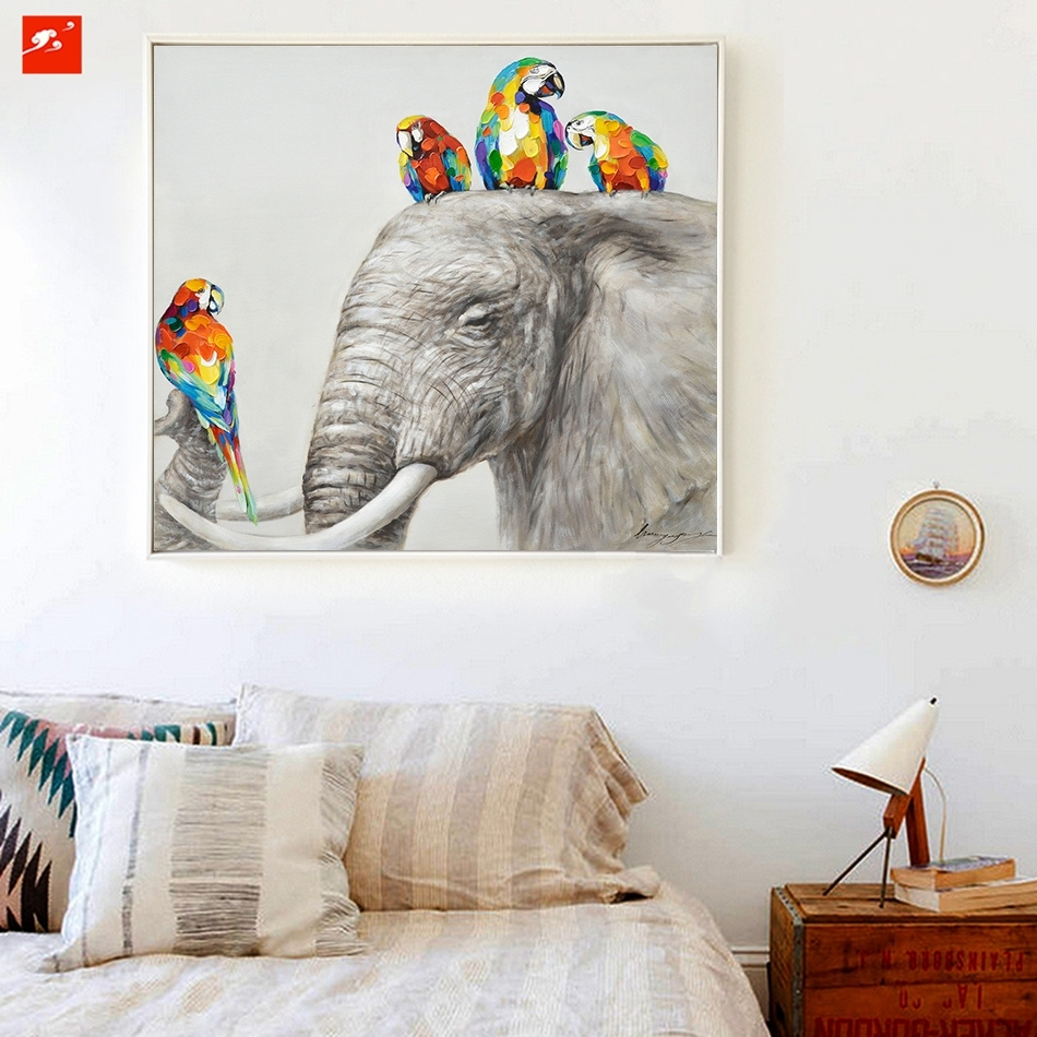 Animal Wall Art Elephant Zebra Abstract Parrot Hand Painted Oil With Regard To Most Recent Abstract Elephant Wall Art (View 9 of 20)