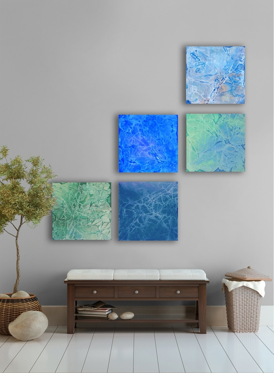 April Rain Abstract Painting, 5 Square Custom Abstract Wall Art Inside Current Blue Abstract Wall Art (View 7 of 20)