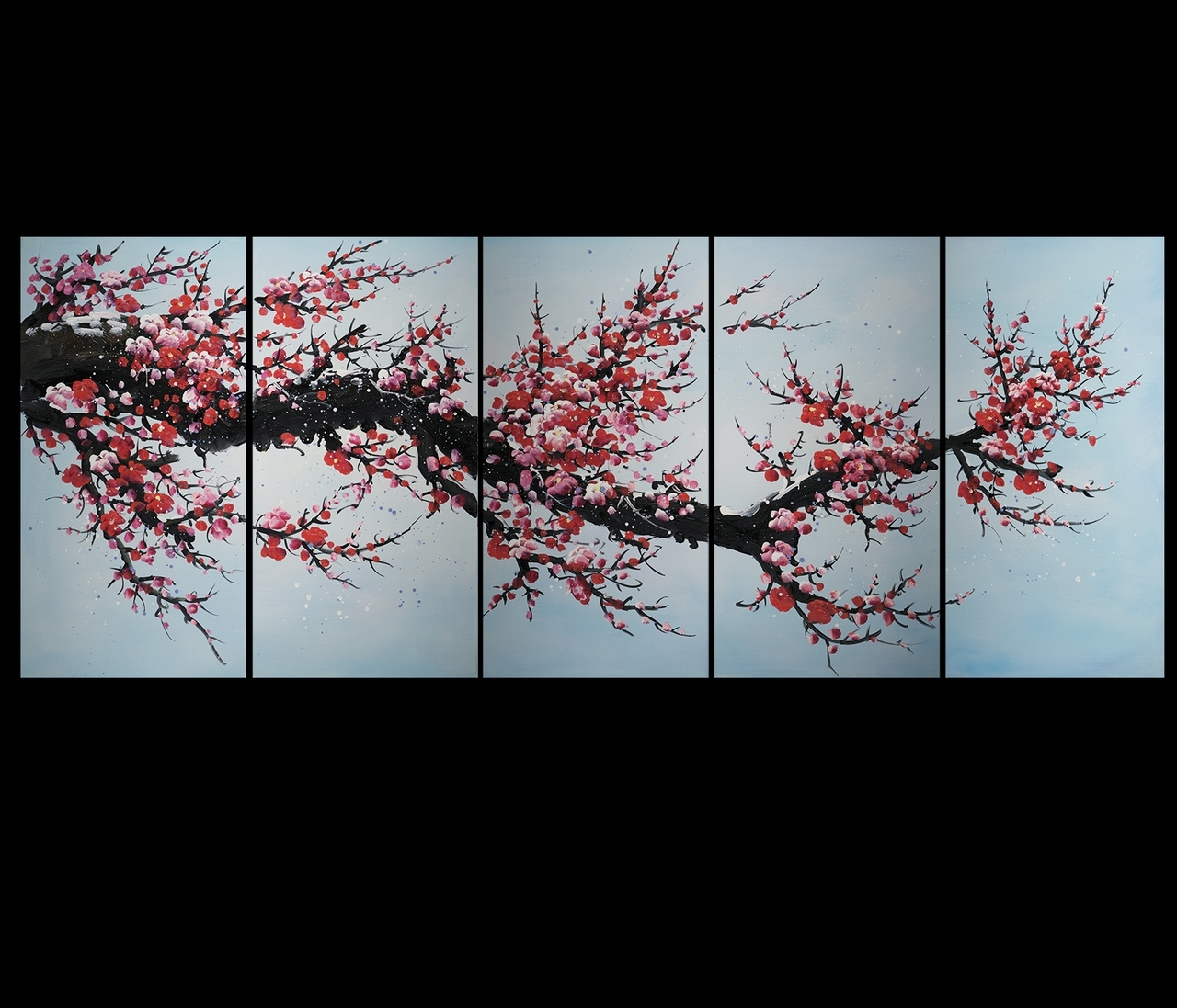 Art Canvas Prints Wall Decor Abstract Art Contemporary Art Cherry With Regard To Recent Abstract Cherry Blossom Wall Art (View 3 of 20)