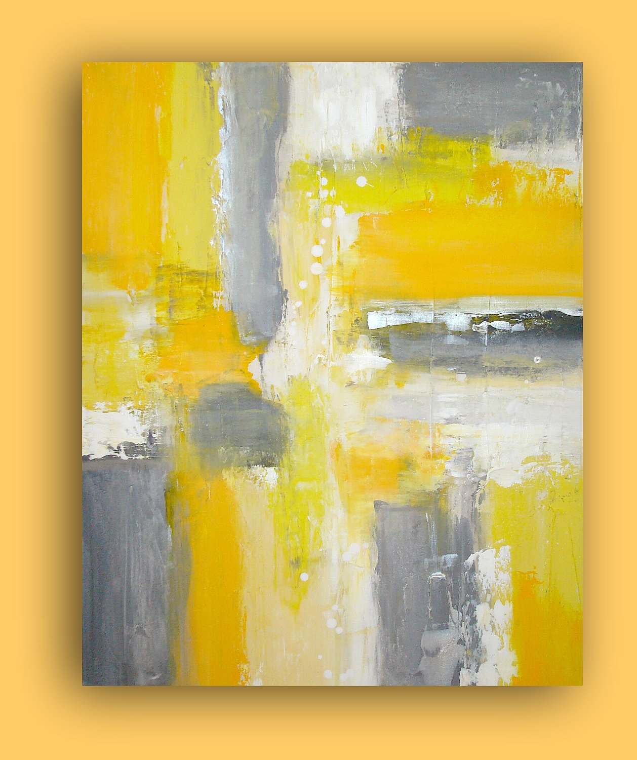 Art Original Yellow And Gray Acrylic Painting On Gallery Canvas Inside Current Yellow And Grey Abstract Wall Art (View 3 of 20)