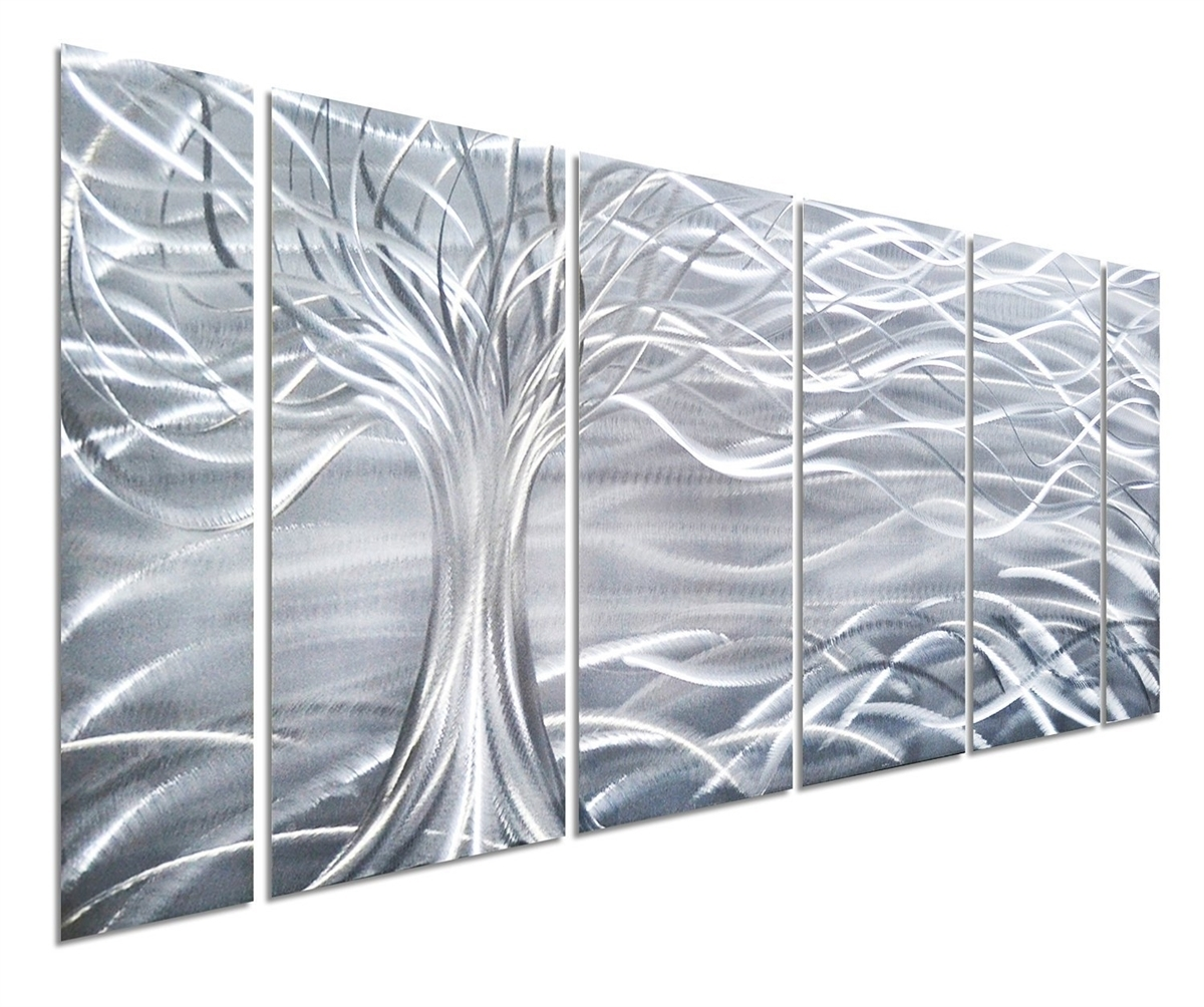 Art Willow Tree Of Life Metal Wall Art, Abstract Silver Sculpture With Most Popular Abstract Metal Wall Art Panels (View 6 of 20)