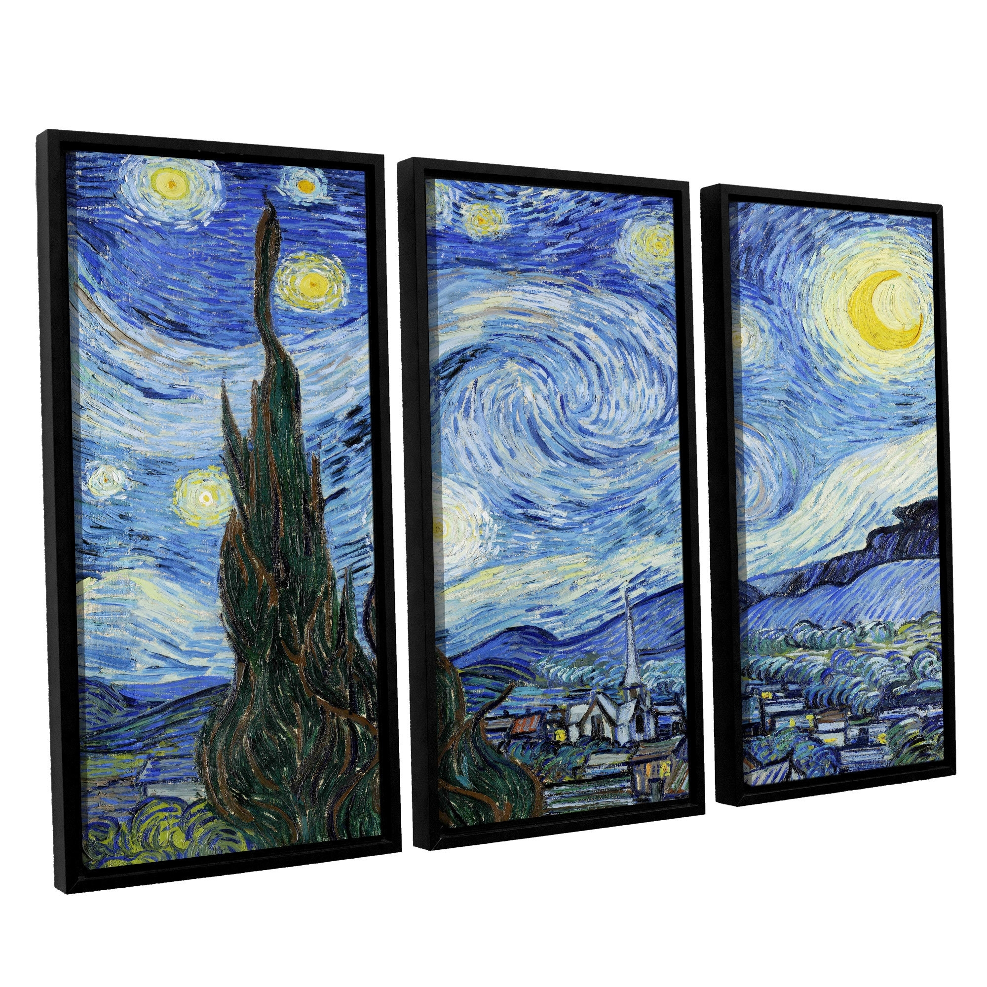 Artwall Starry Night (Lighter Version)Vincent Van Gogh 3 Piece For Latest Vincent Van Gogh Multi Piece Wall Art (View 6 of 20)