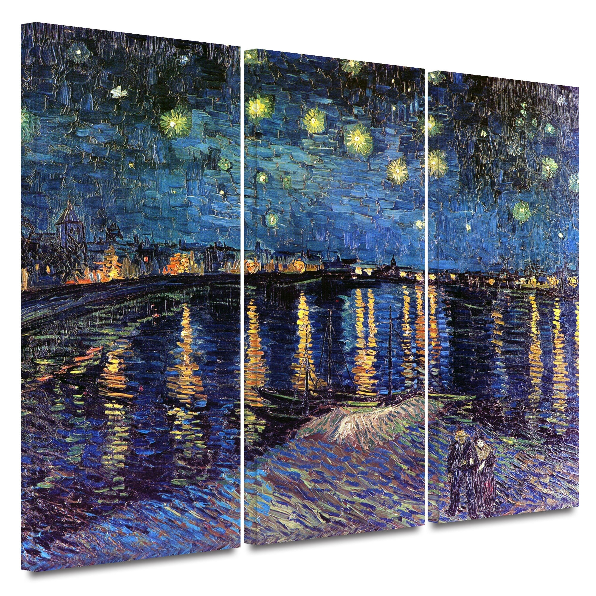 Artwall 'starry Night Over The Rhone'vincent Van Gogh 3 Piece With Regard To Most Current Vincent Van Gogh Multi Piece Wall Art (View 5 of 20)