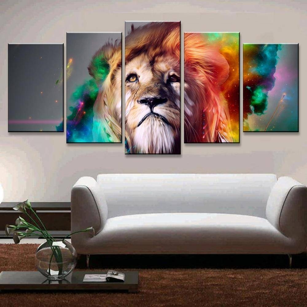 Atfipan 5 Pcs Animal Wall Art Modular Pictures Colorful Lion With Most Popular Colorfulanimal Wall Art (View 13 of 20)