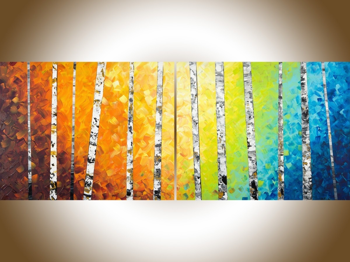 "Autumn Birch Trees Iiqiqigallery 54"" X 24"" Original Oil Within Current Abstract Orange Wall Art (View 12 of 20)"