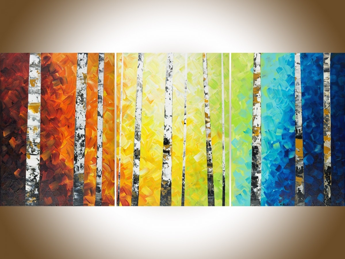 "Autumn Birch Trees Iiqiqigallery 54"" X 24"" Original Oil Within Most Current Modern Abstract Oil Painting Wall Art (View 5 of 20)"