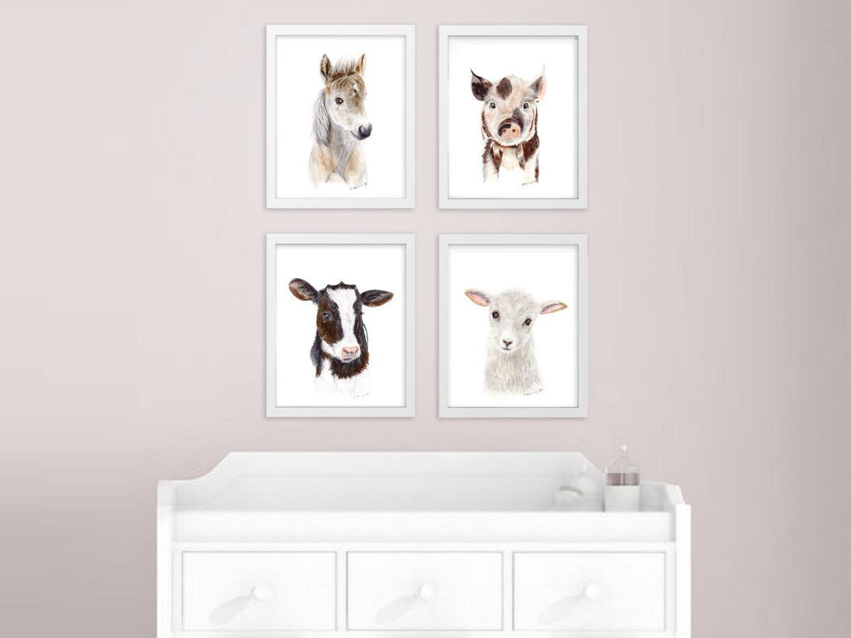 Baby Animal Prints Farm Nursery Art Print Set Farm Animals Inside Latest Farm Animal Wall Art (View 2 of 20)