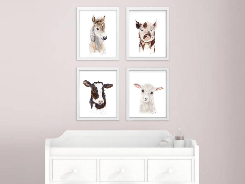 Baby Animal Prints Farm Nursery Art Print Set Farm Animals Inside Latest Farmanimal Wall Art (View 13 of 20)