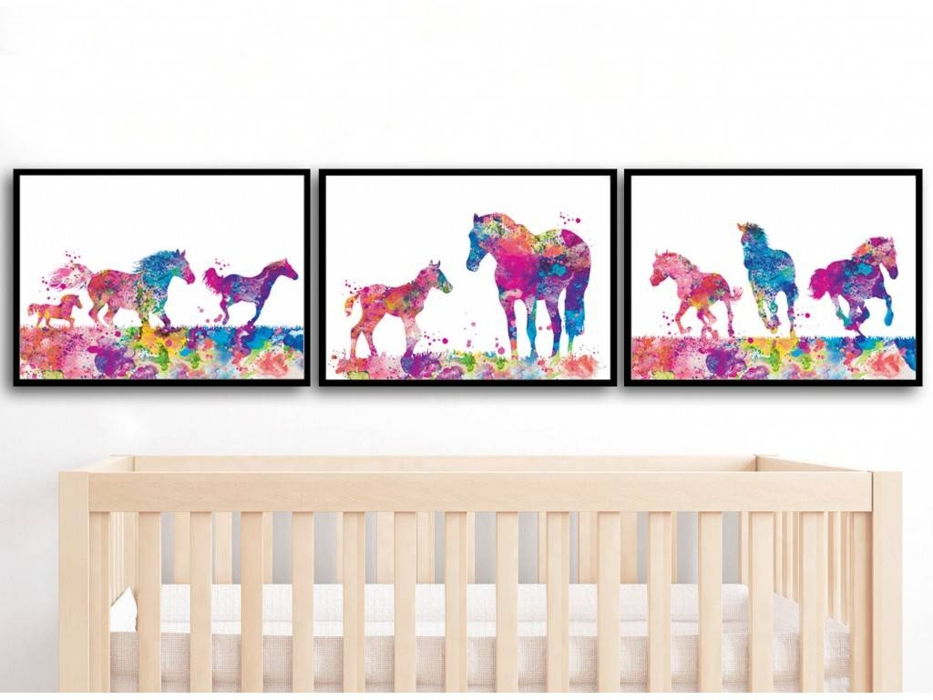 Baby Dad Horses Watercolor Print Set Of 3 Prints Horse Watercolor In Most Popular Baby Animal Wall Art (View 2 of 20)