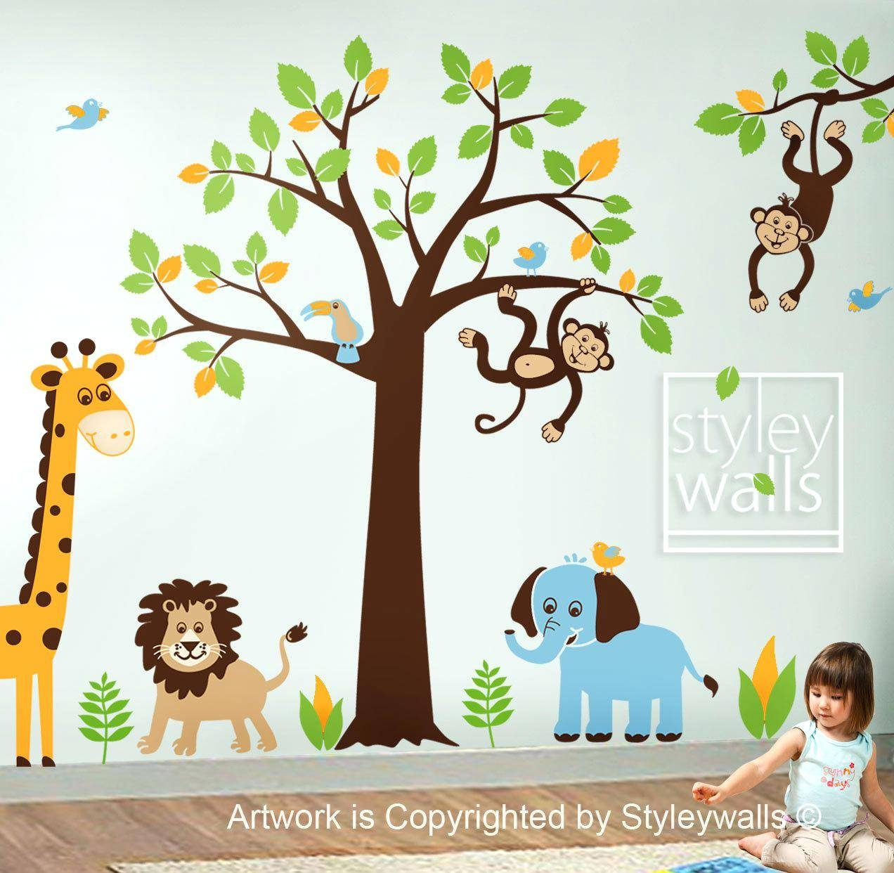 Baby Jungle Wall Decals Deluxe Safari Nursery Wall Art Stickers Intended For Current Jungle Animal Wall Art (View 3 of 20)