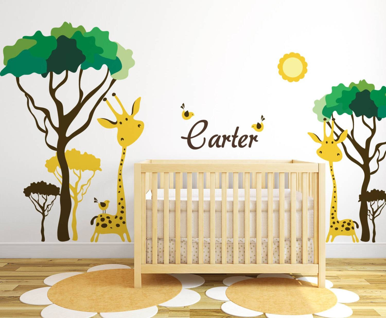Baby Nursery Ideas Safari Giraffe And Birds Decals For Walls In Current Safari animal Wall Art (View 16 of 20)